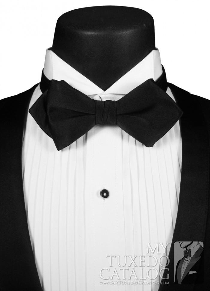 Black Pointed Diamond Agent Bow Tie  Ties