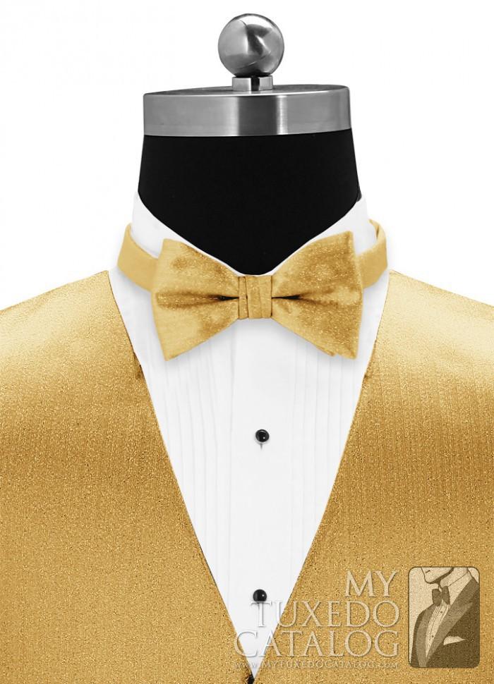 Metallic Gold Vertical Matching Bow Tie  Ties
