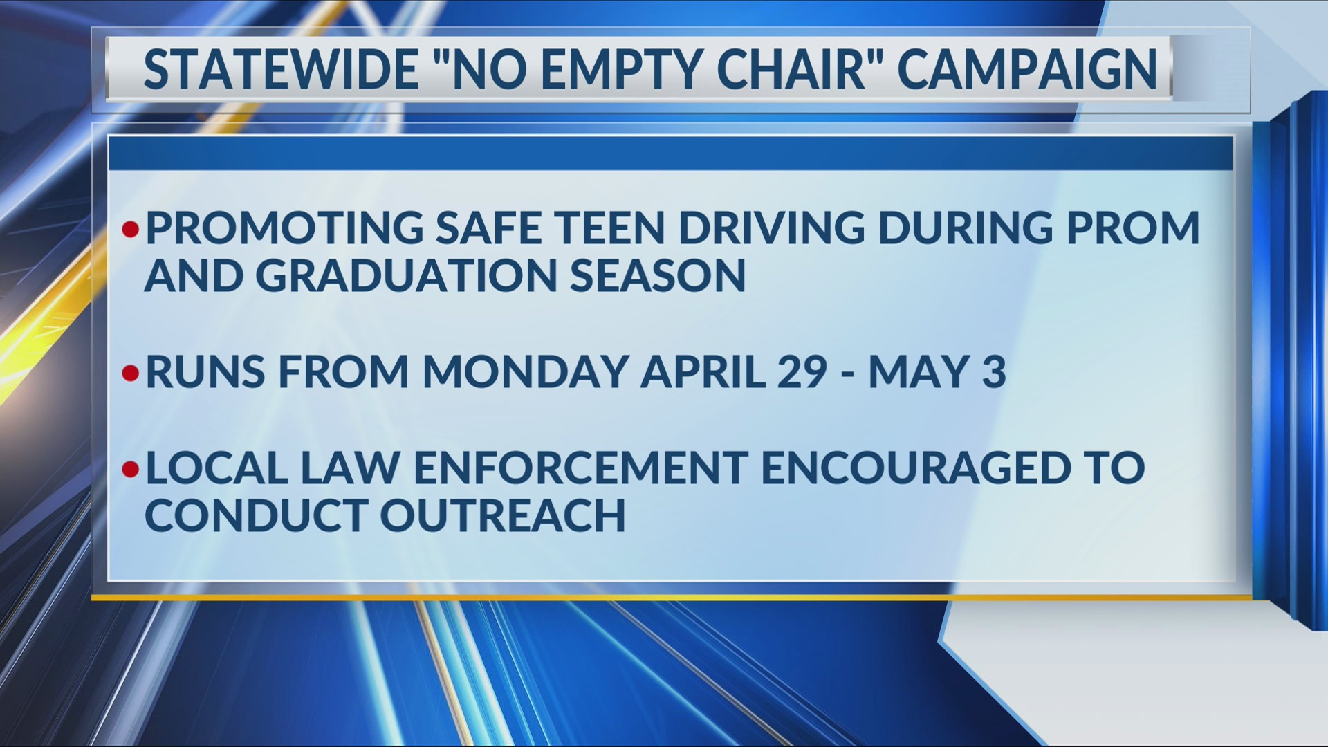 """State promotes safe teen driving during """"No Empty Chair"""" campaign"""