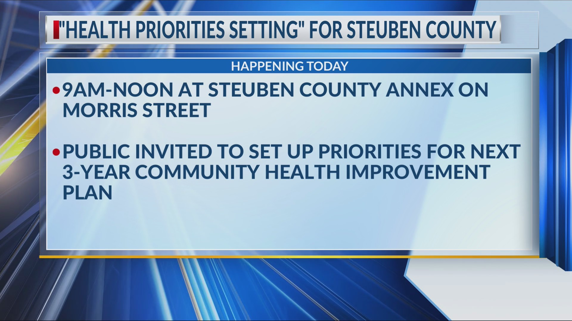 Steuben County residents invited to set health priorities for community