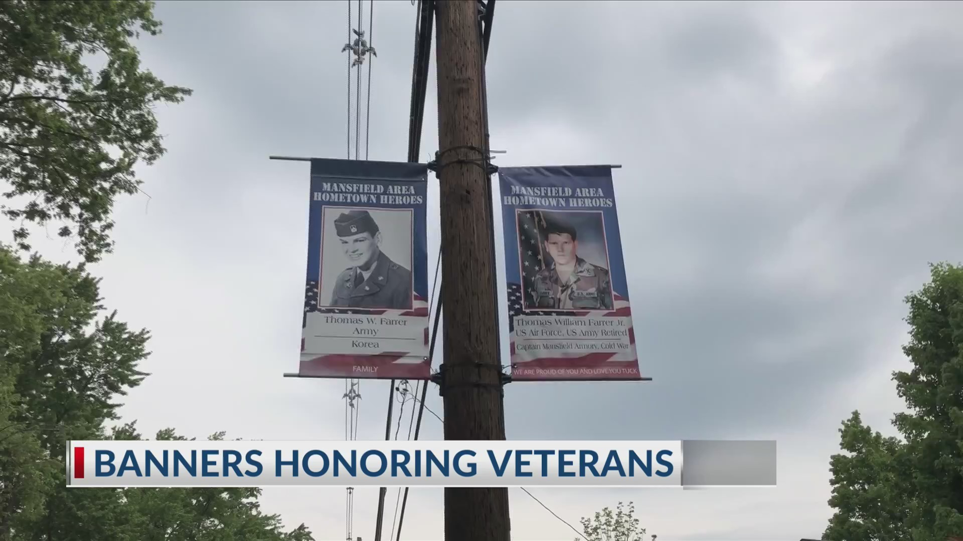 Banners honoring veterans