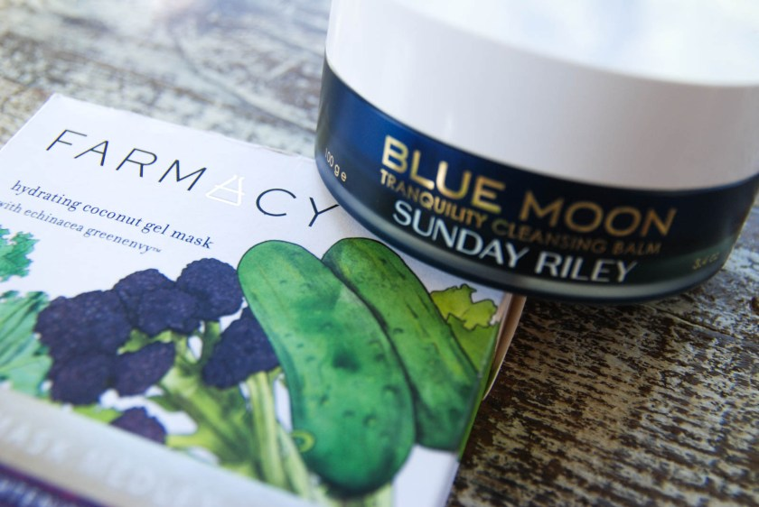 Sunday Riley's Blue Moon Tranquility Cleansing Balm Farmacy Hydrating Coconut Gel Masks