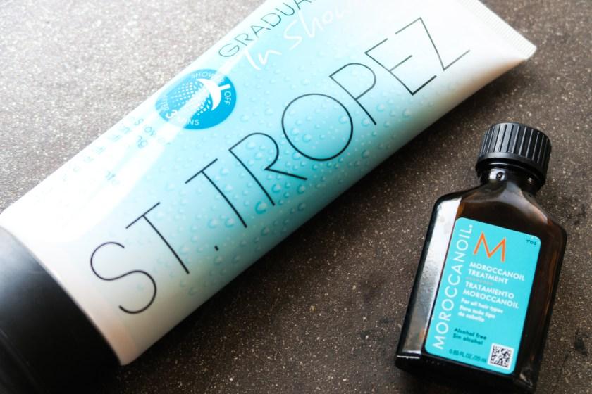 st tropez in shower tan morrocanoil hair treatment oil