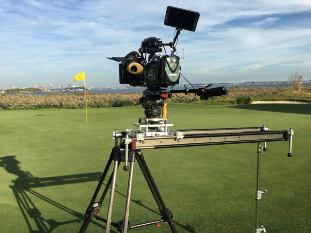 MYT Works Large Camera Slider used by Travelers Insurance COO Andy Bassett shooting a welcome message for CBS Sports and The Golf Channel produced by PGA Tour Entertainment. On location outside Hartford,CT.
