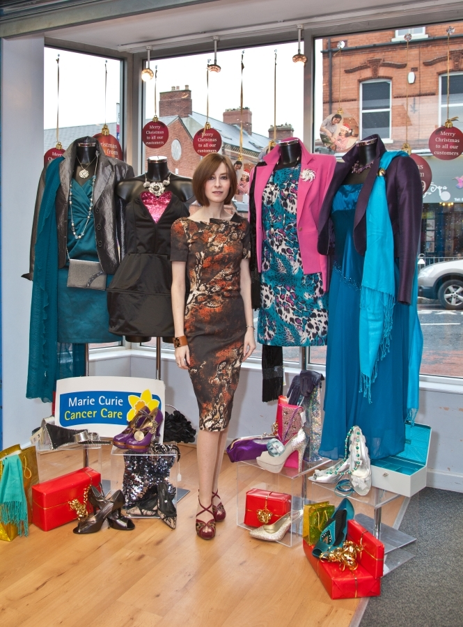 Louise Vance, stylist and fashion blogger, who has taken part in a Christmas Challenge at Marie Curie Cancer Care's charity shop on the Belmont Road.
