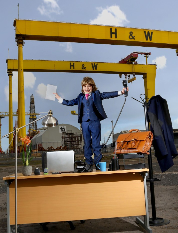 Picture shows: Pierce McConnell, aged 7 from Newtownabbey highlights the benefits of BT Cloud Voice. The cloud based phone system enables businesses to integrate mobile and office phones on to one single number via a handy app, keeping users connected even when they are out of the office. The service can be easily scaled up and adapted as a business grows