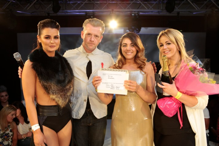 Pictured are 'Masters of Hair' Alanda Patrick and Jamie Lynn with model Lizi Jones and host, Sean Tetlow at the L'Oréal Colour Trophy 2015 Belfast heat in the Europa Hotel. The team from the Peter Mark Forestside salon, battled against 30 other hairdressing teams in the highly competitive regional final to win just one of four places up for grabs at the grand final in London on the 1st June. To find out more about Peter Mark or if you're interested in becoming a 'Master of Hair' contact The Training Academy on 028 9031 1968 or visit www.petermark.com