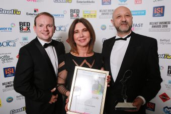 Pictured picking up the Best Eatery Award at the Belfast Business Awards are Michelle and Nicholas Lestas from the Good Food & Wine Company alongside Jordan Moates from Cool FM who were the category sponsor
