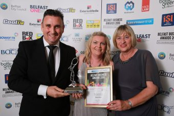 Sixteen South picked up Best Creative Business. Company owners, Colin and Rachelle Williams are pictured alongside category sponsor, Cllr Aileen Graham from Belfast City Council.