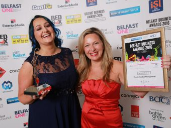 Nuala Cambpell, Titanic Creative winner of Best New Business with sponsor, Michelle Greaves, Manager of Victoria Square