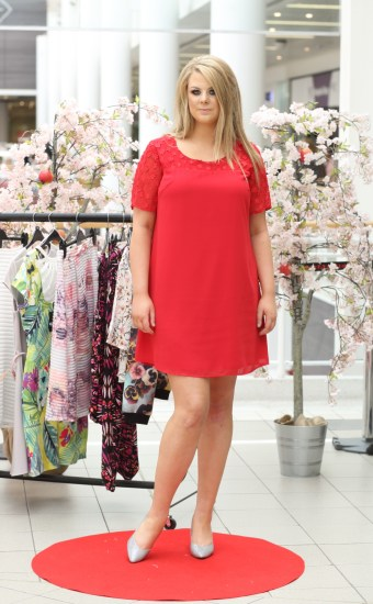 CMPR Model Kate Sullivan wearing Red Dress with Floral Upper, £45 @ Simply Be