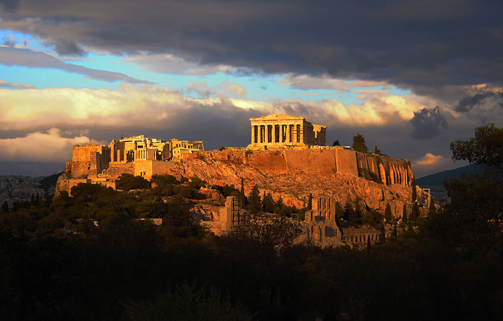 Acropolis, rain, sun, winter, dramatic view, athens, greece