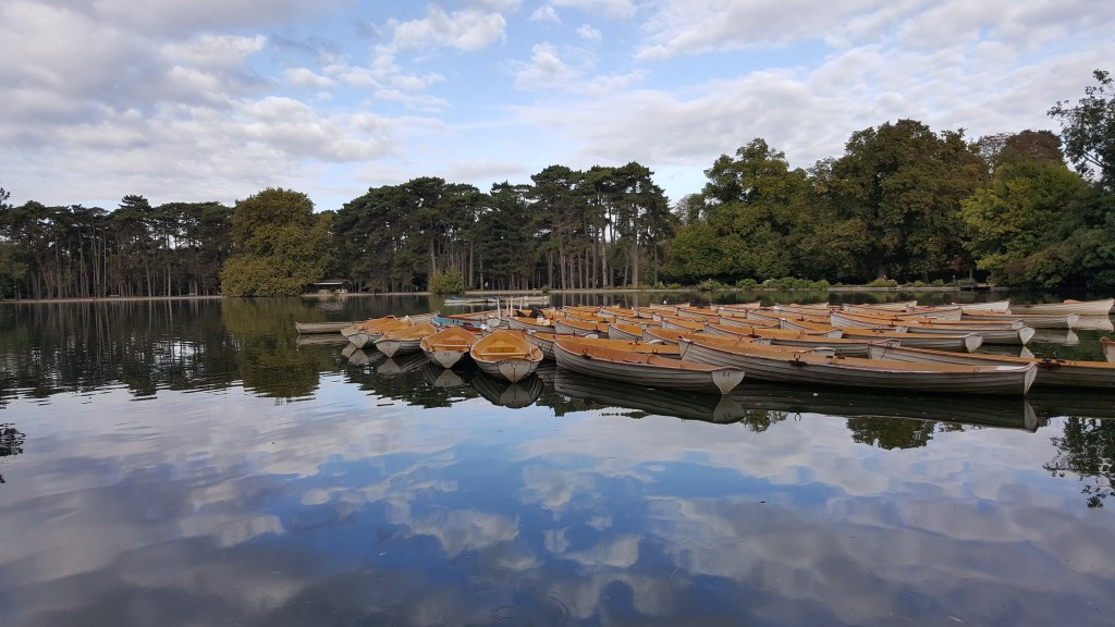 Bois de Boulogne, Paris, France, lake, arrondissement 16, boats, reflections, clouds, Paris, France