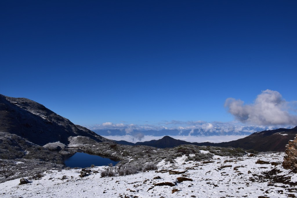 Druk Path, Bhutan, lake, mountains, clouds