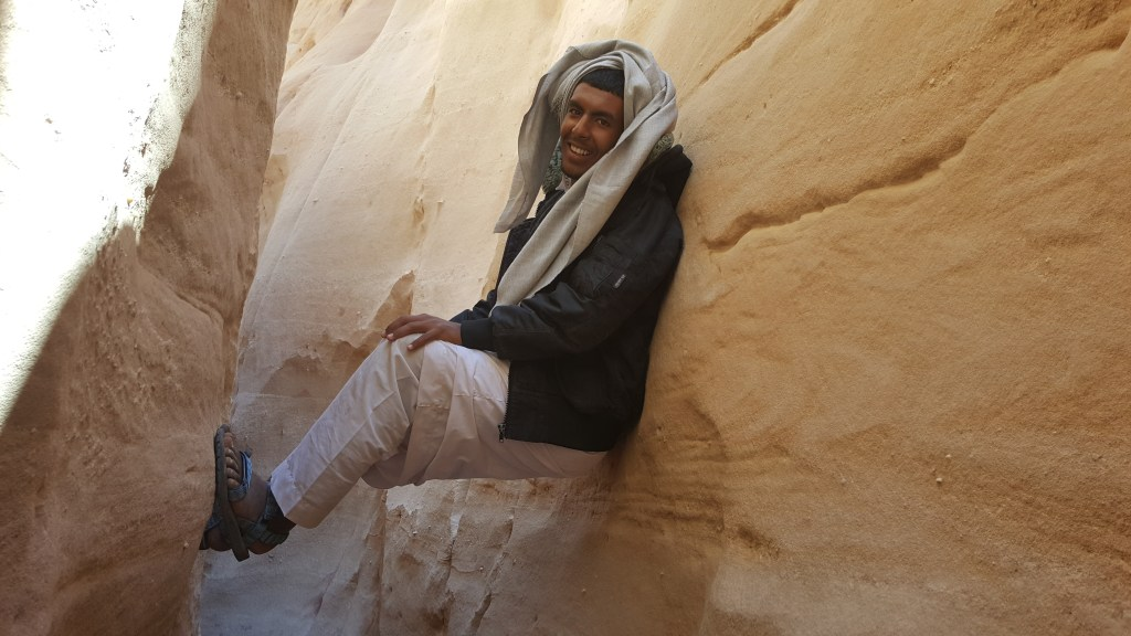 Bedouin, Egypt, Sinai trail, hiking, pilgrimage, young man, closed canyon, body-jamming