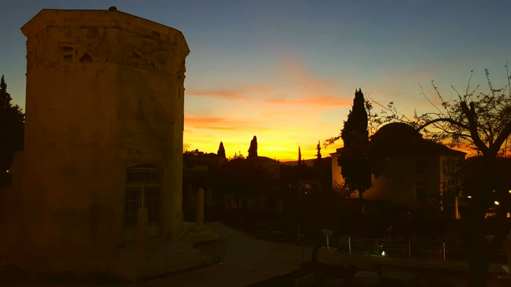 Athens, Greece, ancient city, sunset, Wind Tower
