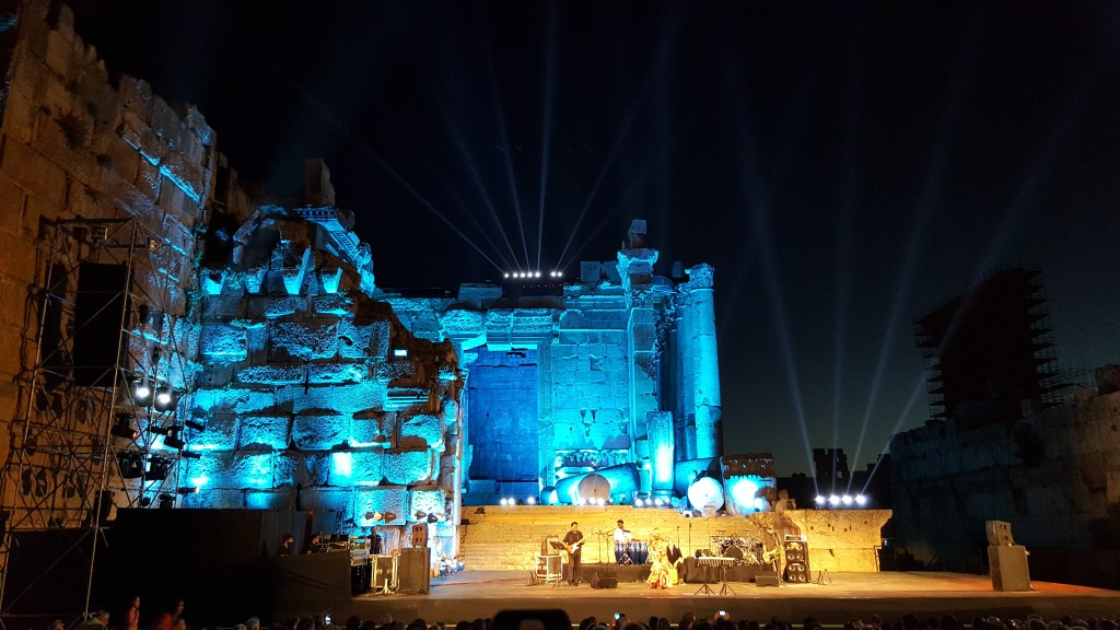 Lebanon, Temple of Bacchus, concert, lights, night, Roman cities, ancient civilizations