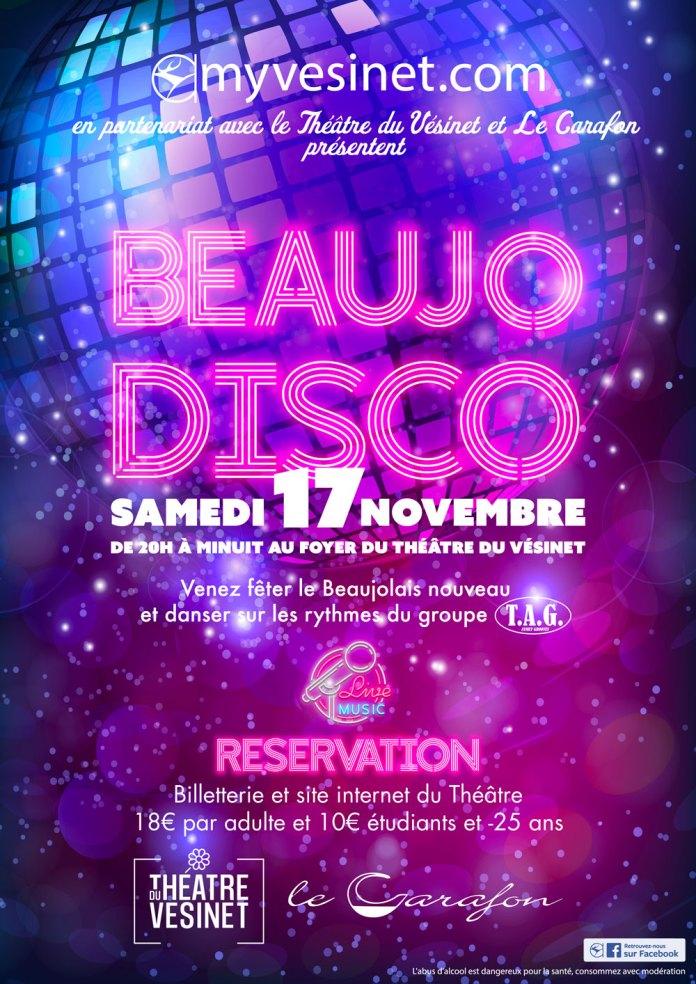 Au foyer du Théâtre, le samedi 17 novembre de 20h00 à minuit, venez danser au son endiablé du Groupe TAG. Des musiciens Vésigondins au top, et un répertoire disco et années 80'. Bref, let's dance !