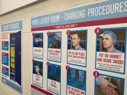 Locker room changing procedure boards