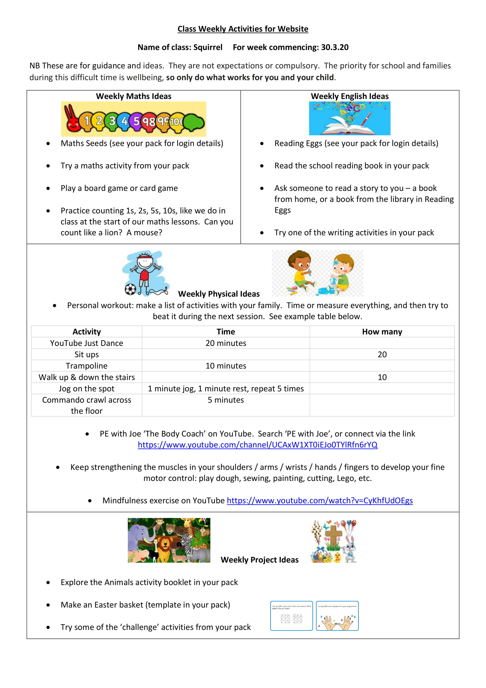 Home Learning And Class Activities
