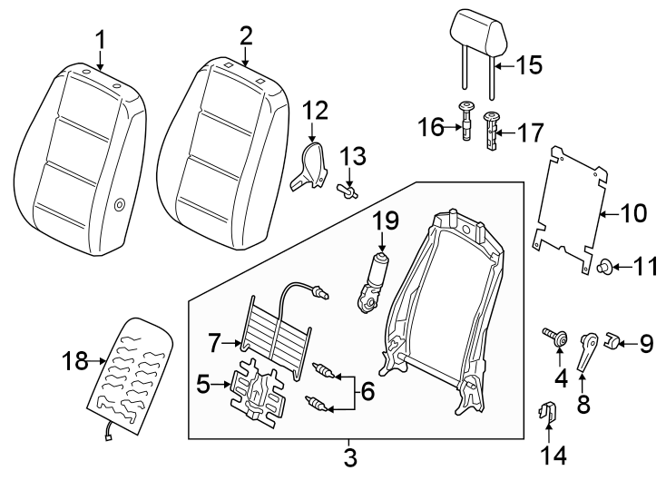 Volkswagen Passat Headrest Guide. Non-locking, shetland