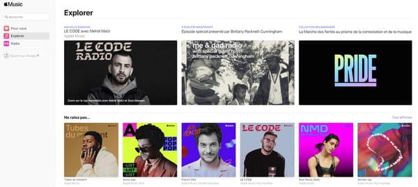 Accueil Apple Music