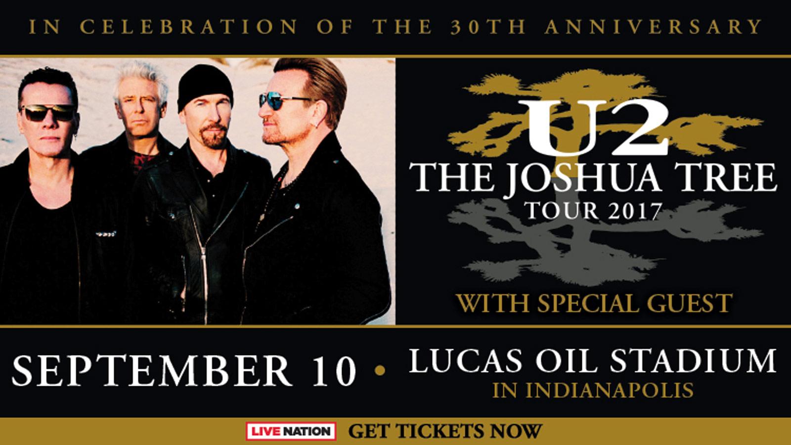- The Joshua Tree Tour 2020  Lucas Oil Stadium  September 10 U2 Ticket Giveaway Sweepstakes