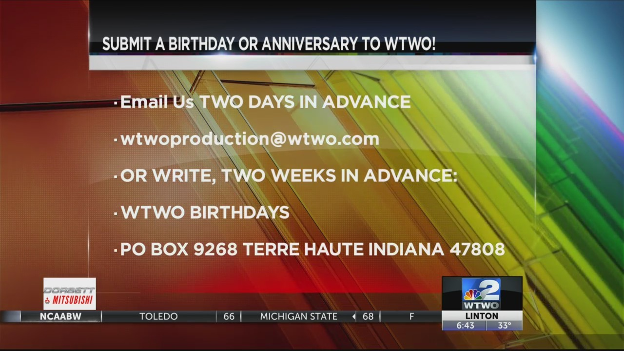 WTWO Today Birthdays and Anniversaries 3-20-18