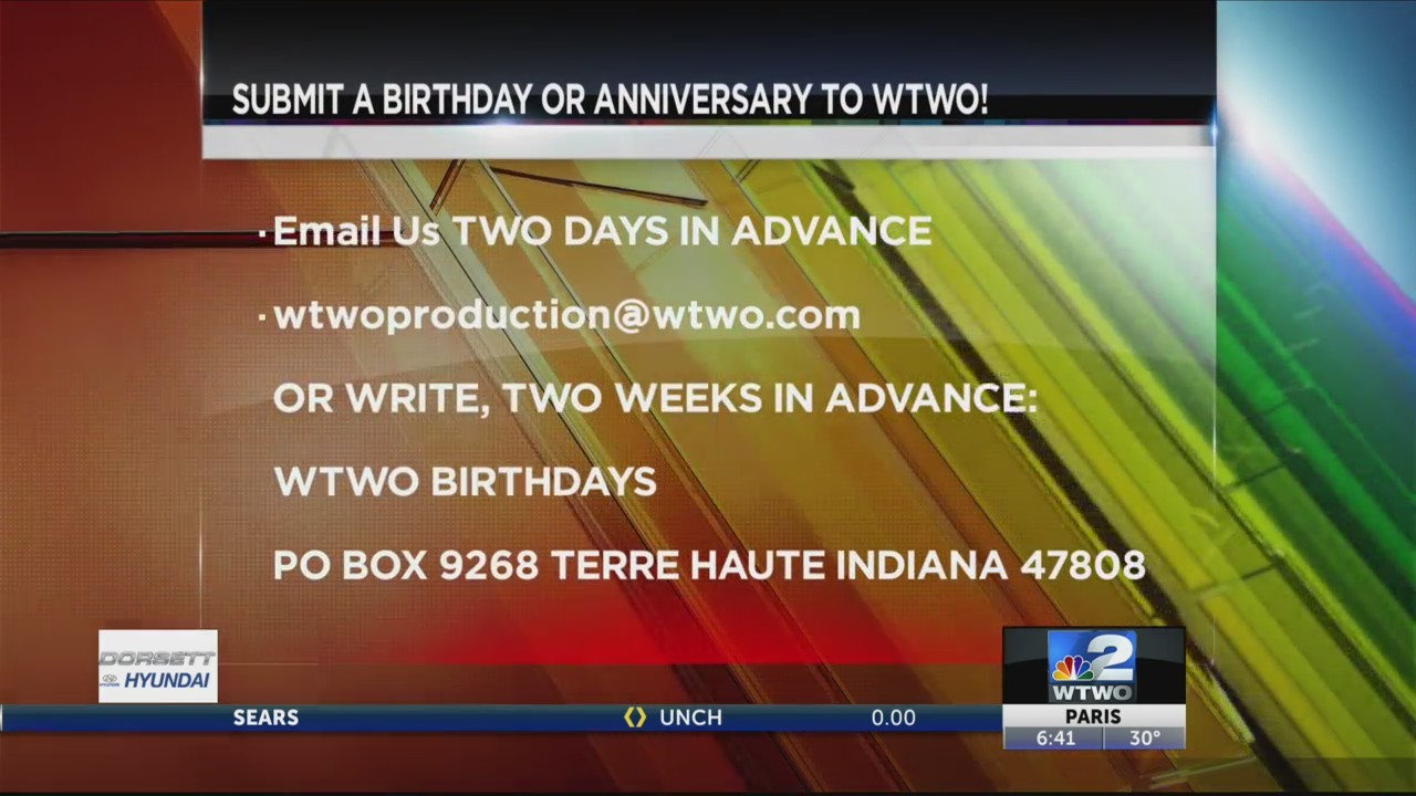 WTWO Today BIRTHDAYS AND ANNIVERSARIES 3-18-19