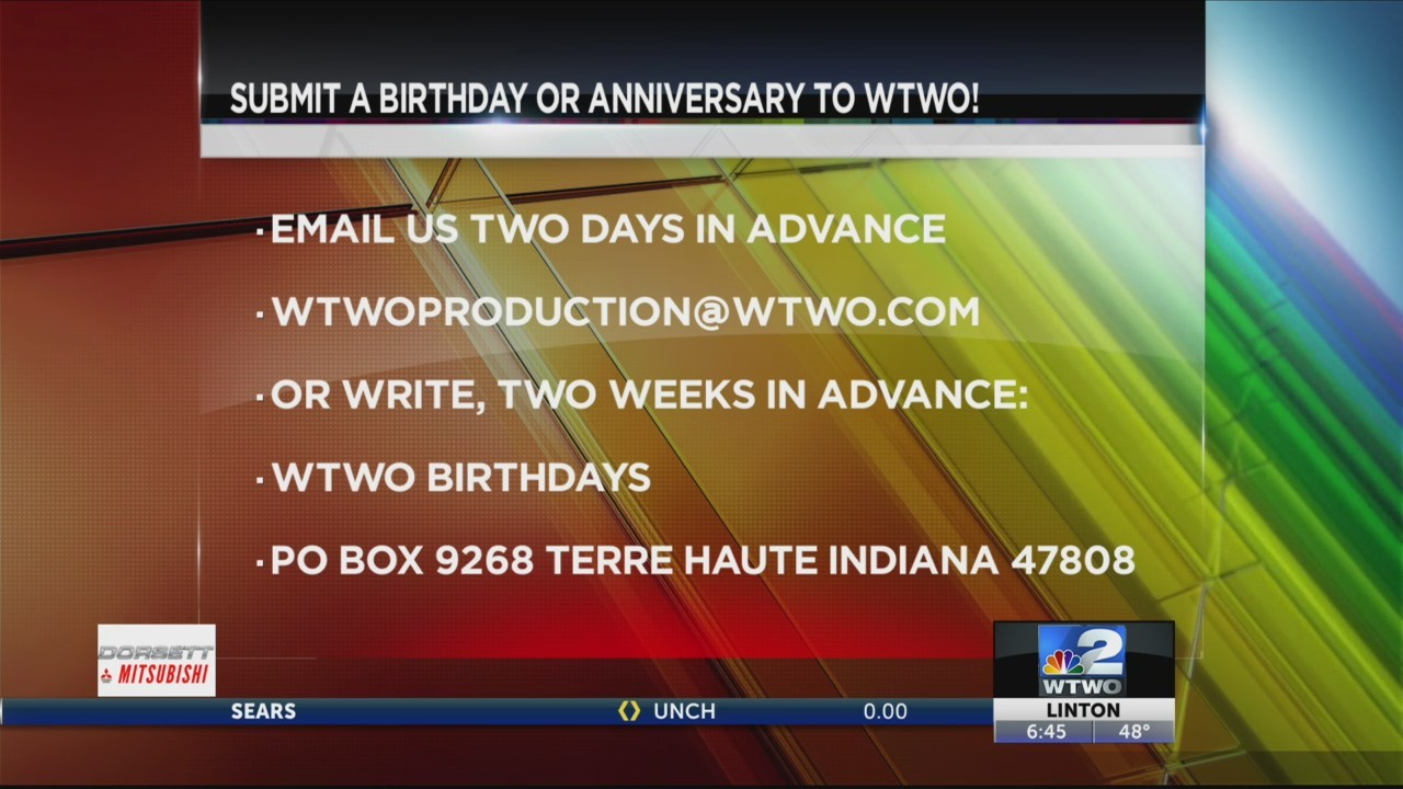 WTWO Today Birthdays and Anniversaries