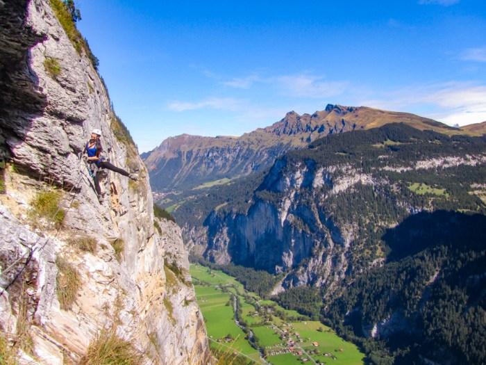 Exposed cliff walk | Via Ferrata Murren to Gimmelwald, Switzerland: One Insane Alpine Adventure!