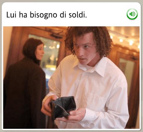 The funniest Rosetta Stone stock images: Italian, he needs money