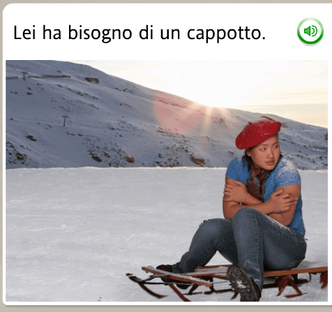 The funniest Rosetta Stone stock images: Italian, she needs a coat