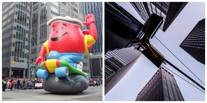 Do This, Not That // Macy's Thanksgiving Day Parade tips | Koolaid Man and buildings at the Macy's Thanksgiving Day Parade in New York City