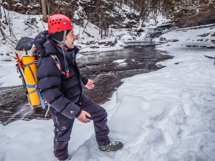Ice Canyoning in Québec // Why You Should Be All up in This | Our guide, Marc, ice canyoning in Québec
