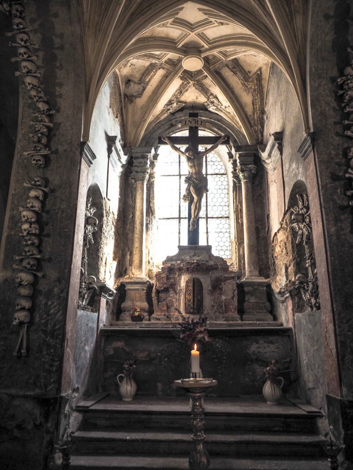 Crucifix at the Sedlec Ossuary in Kutná Hora, Czech Republic, just one hour from Prague