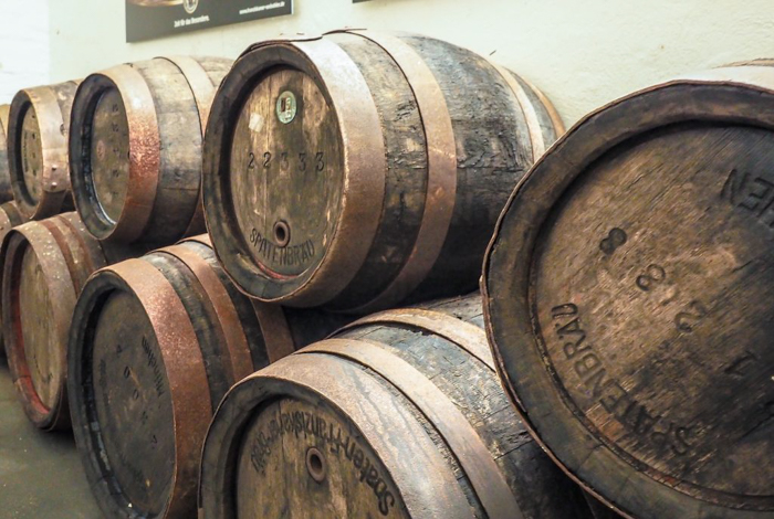 Beer barrels at the Spaten Brewery in Munich, Germany