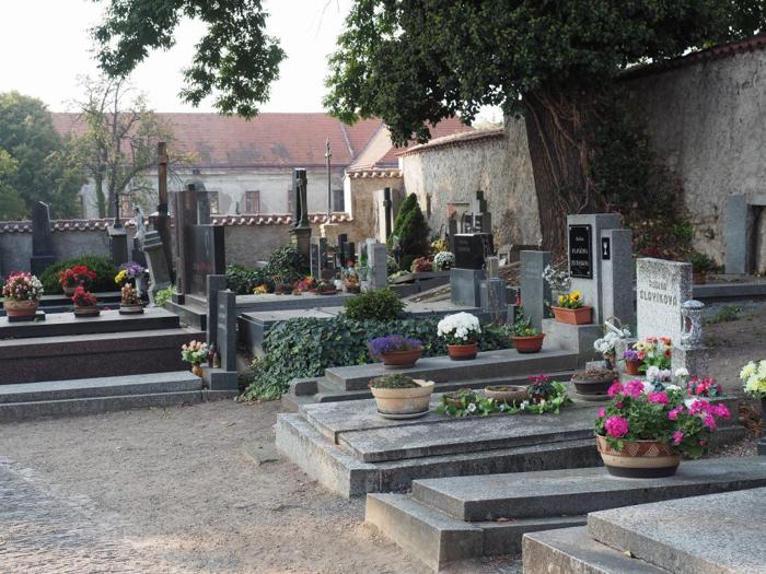 The cemetery behind Sedlec Ossuary, the bone church of Kutná Hora, Czech Republic