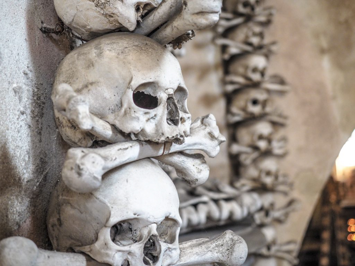 Skulls at the Sedlec Ossuary in Kutná Hora, Czech Republic, just one hour from Prague