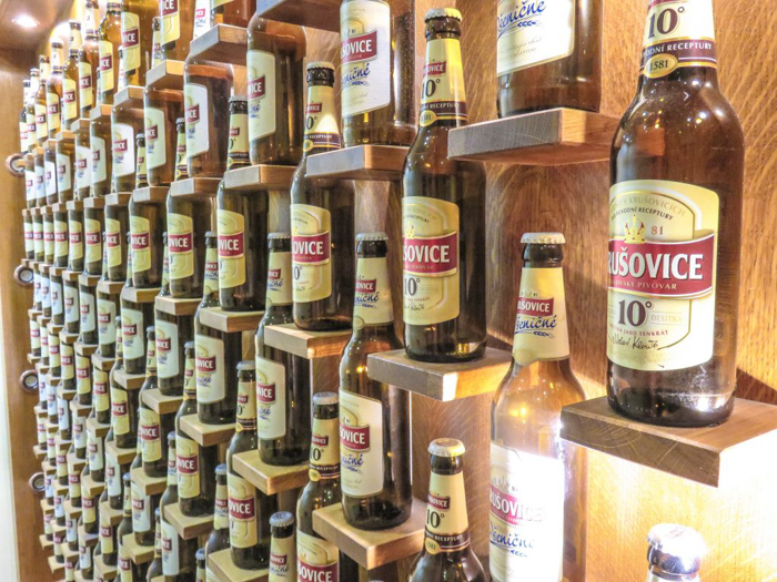 Krusovice bottles on display at the Prague beer spa