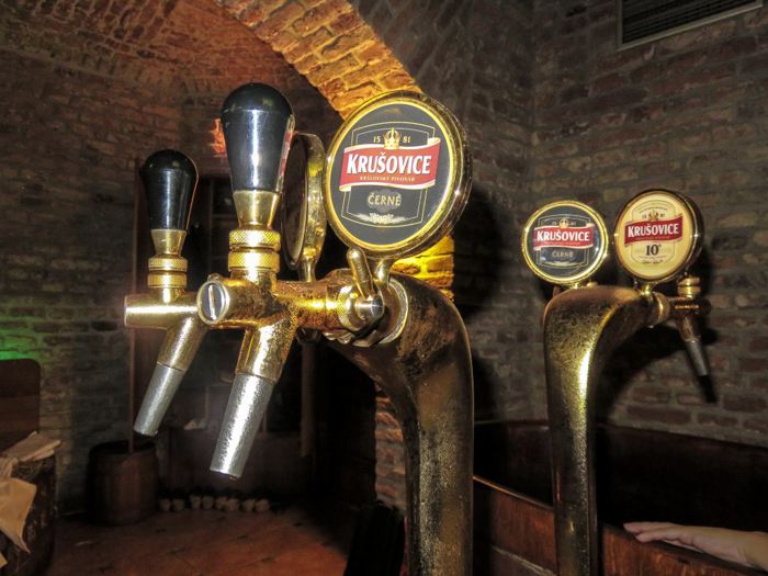 The taps inside the Prague beer spa we visited