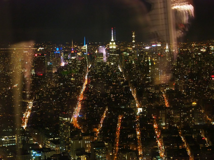 Is One World Trade Center's One World Observatory the best observation deck in New York City? (skyline at night with reflections)