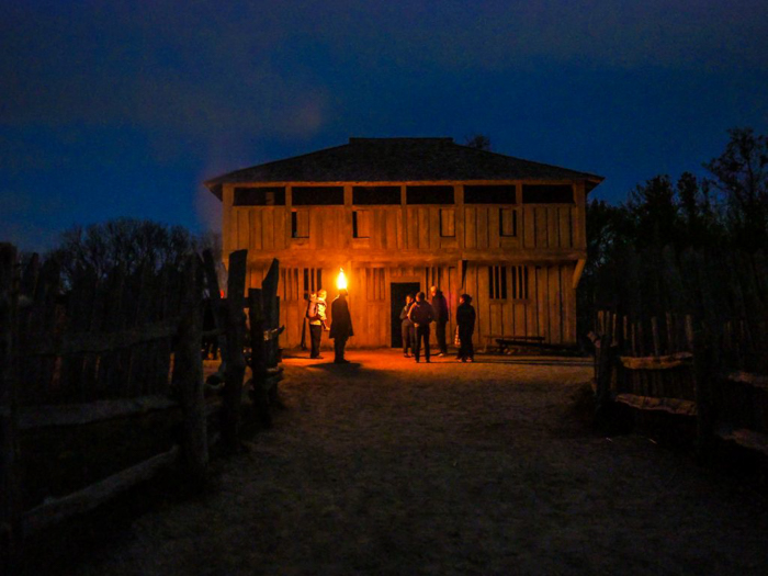 Plimoth Plantation at night after Thanksgiving dinner in Plymouth, Massachusetts -- just outside Boston