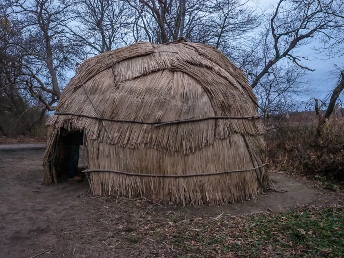 Native American shelter at Plymouth Plantation after Thanksgiving Dinner