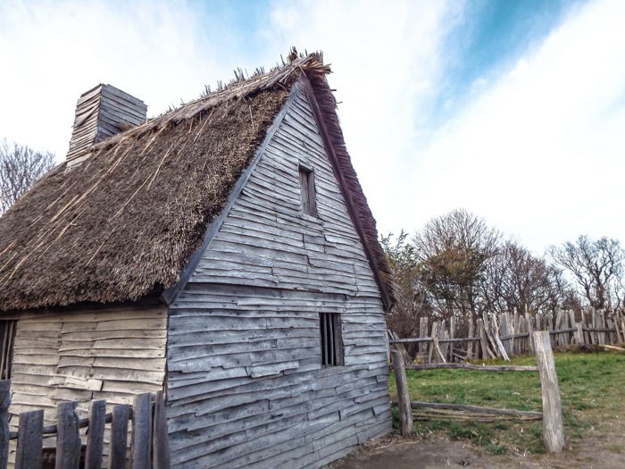Pilgrim house at Plimoth Plantation after Thanksgiving dinner in Plymouth, Massachusetts -- just outside Boston