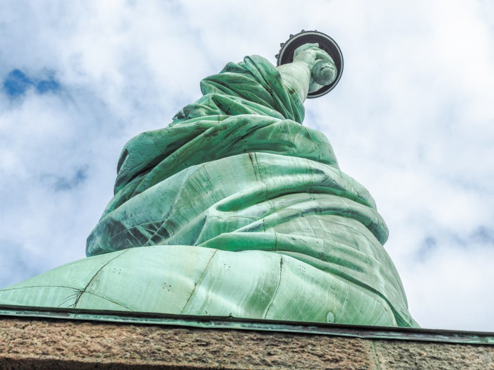 Visiting the Statue of Liberty // She looks like Jabba the Hutt from underneath