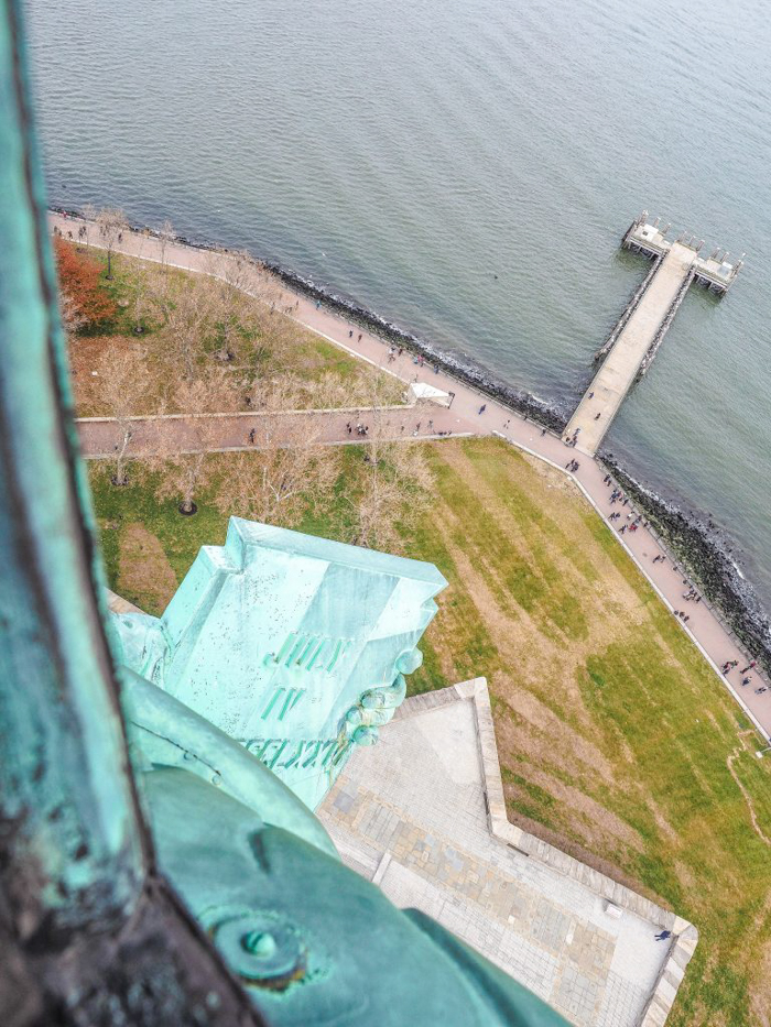 Visiting the Statue of Liberty, New York City // looking down from the crown