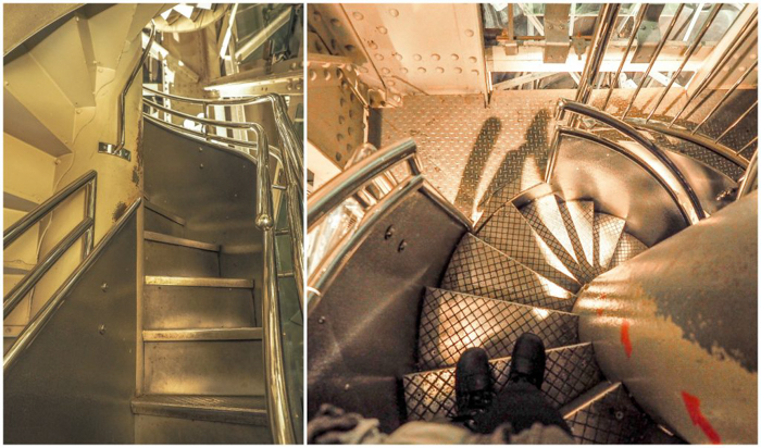 Visiting the Statue of Liberty -- stairs to the crown