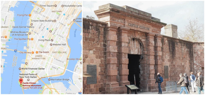 Tip for visiting the statue of liberty // Castle Clinton ticket booths and map