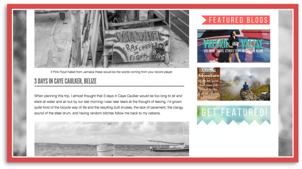 Become a featured travel blog for the month on My Wanderlusty Life. Here's an example of what your ad will look like.